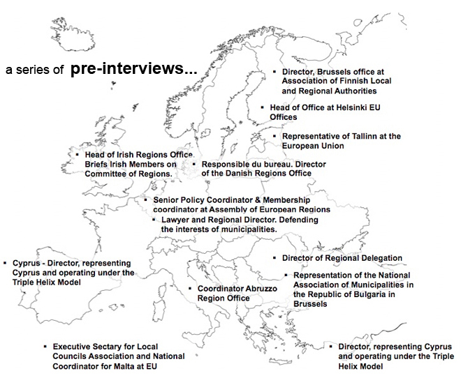 Map of the pre-interviews on the Multilevel Governance Charter with regions' representatives in Brussels